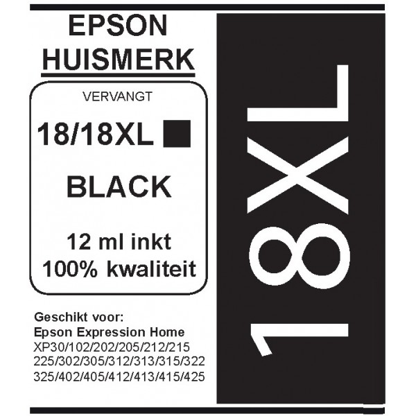 Epson 1811 XL Black cartridge (huismerk)