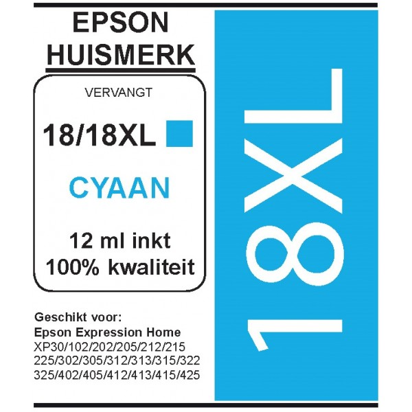 Epson 1812 XL Cyaan cartridge (huismerk)