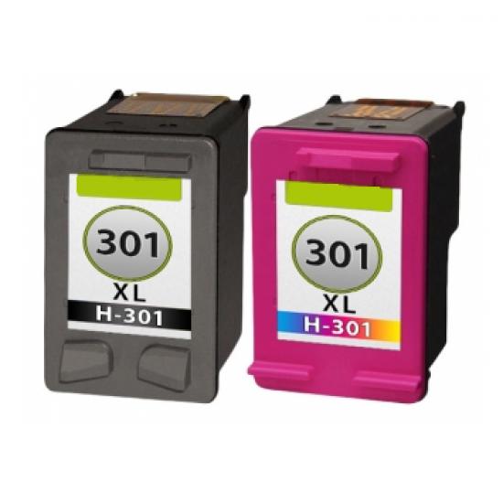 HP 301 XL DUO-PACK (zwart+kleur) cartridges (huismerk)
